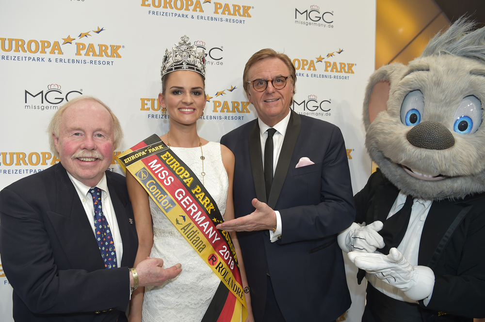 Chip Cleary and Europa-Park owner Roland Mack present Miss Germany 2016.  Courtesy of Europa-Park